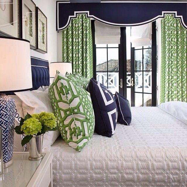 Just loving this green Schumacher fabric from our Garza house.  #Schumacher