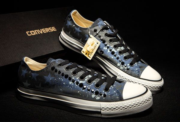 c39daaad5a6f Blue Graffiti American Flag Converse Studded Mens Chuck Taylor All Star Low Tops  Sneakers  converse  shoes