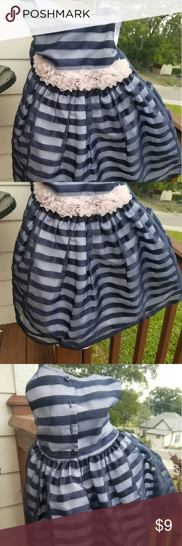 Little Girls Special Occasion Dress Navy and Blush Pink with 1 or 2 barely noticeable nicks Dresses Formal