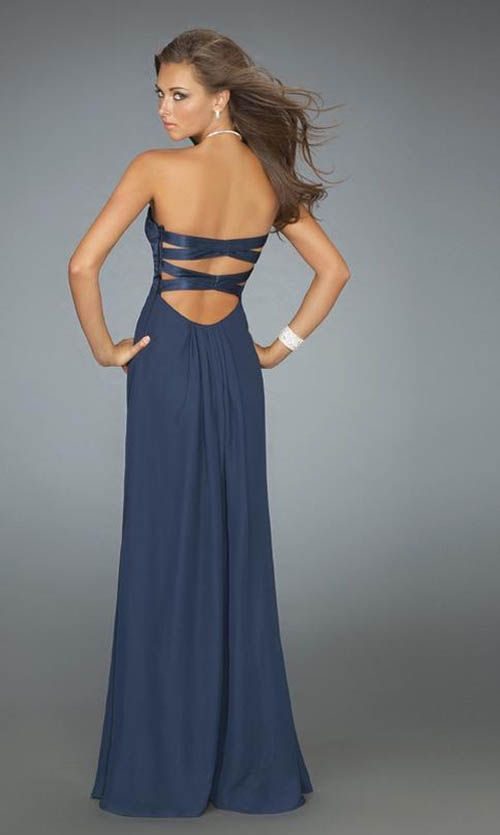 Backless with Straps I like this even though I am trying to stay away from much across back detail, see it a lot and I want my dress to be less generic