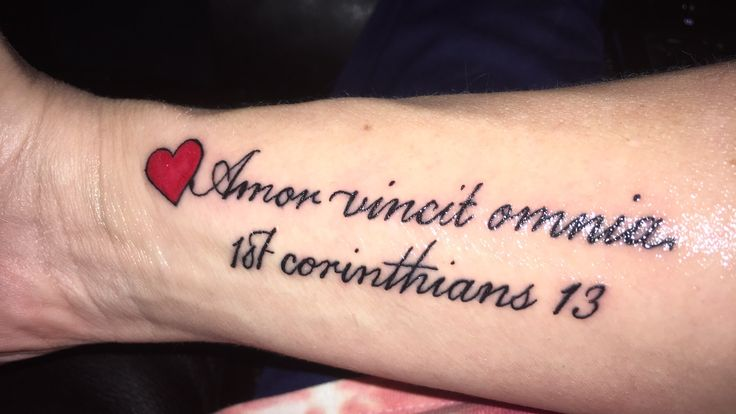 Amor vincit omnia Latin for Love conquers all 1st Corinthians 13 #firsttattoo