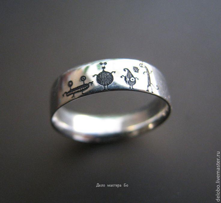 Купить кольцо Монстрики - белый, кольцо, колье ручной работы, кольцо серебряное, кольцо из серебра