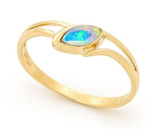 A gorgeous Opal Gold Ring design.  Our team has used a single marquise shaped Australian Solid Light Opal, which is sourced from quality opal mines in Coober Pedy, South Australia. Our Jewellers have used 14k yellow gold and manufactured in a classy bezel set modern ring design. A great statement for the young modern woman.  The Opal shape would be very unique in any jewellery collection.  #opalsaustralia