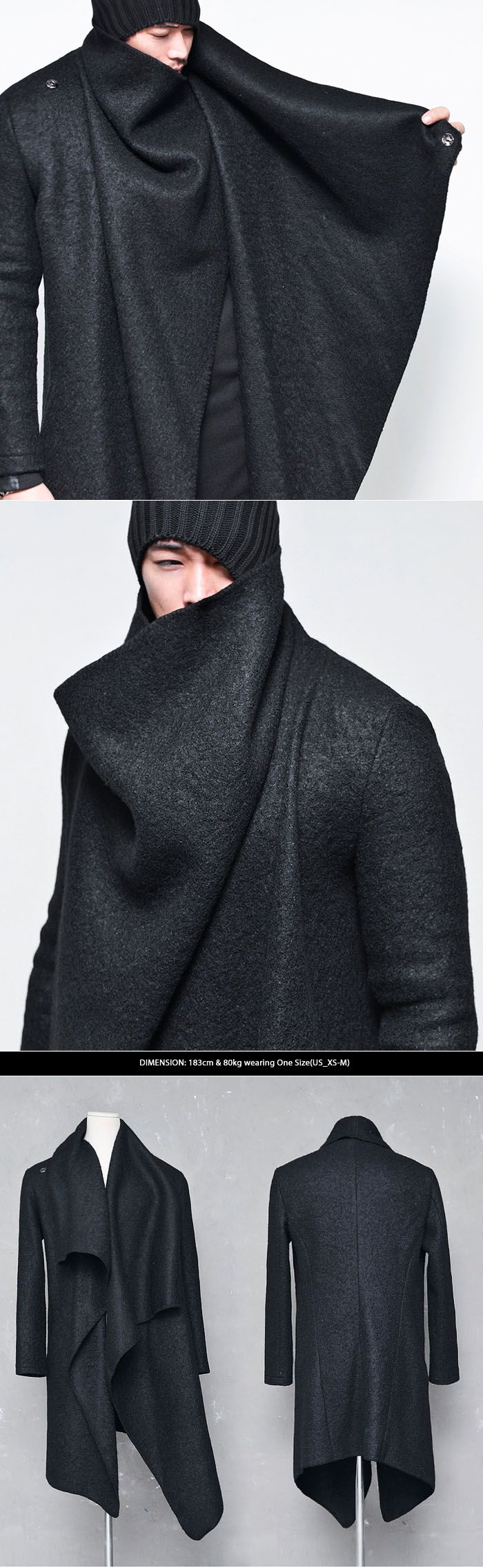 Outerwear :: Coats :: Avant-garde Unbalance Turtle Drape-Coat 67 - Mens Fashion Clothing For An Attractive Guy Look