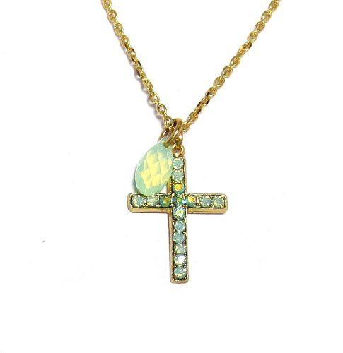 - Beautiful Mariana necklace, style N-5247/1. Christian cross pendant hand set with faceted, round cut Swarovski Crystals. Small drop accent charm - Matches jewelry with Mariana color 390. Contains th