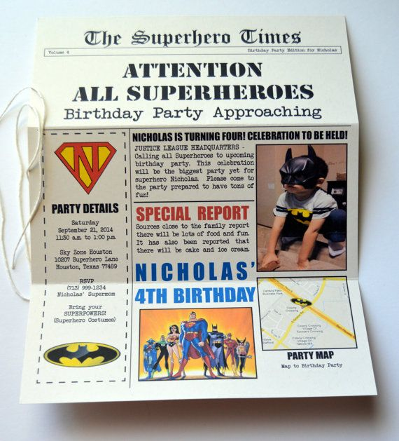 Superhero Birthday Invitation DC/Justice League by stampandseal