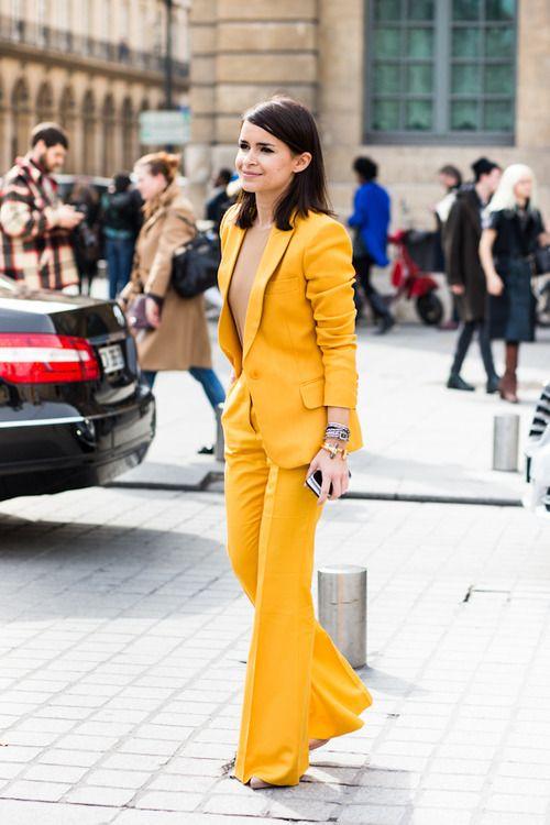 Miroslava Duma - Street style - Love this suit! Love the yellow soooo much.