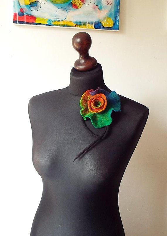 Felted Brooch Flower Felt Brooch Wool Brooch Multicolor Black