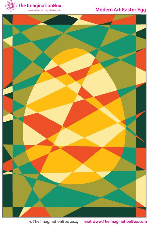 The ImaginationBox: 'Hidden' Modern Art Easter Egg colouring activity. Keeps  kids occupied exploring colour and abstract shapes. Free template to download