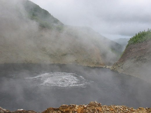 Boiling lake, Dominica. Theke temparature around the edges is about 82-90 degree c. The temperature at the middle couldn't be measured where the water is actively boiling.
