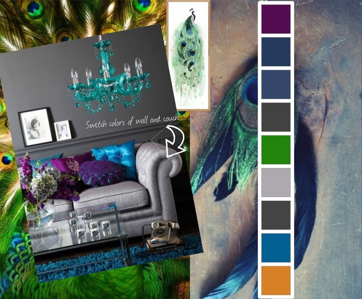 peacock room mood board purple green royal blue teal