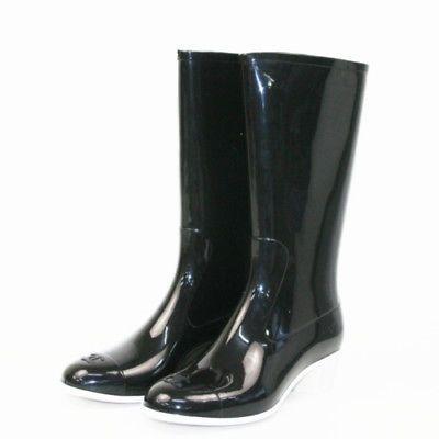 bf85535211449 Auth CHANEL Rain boots 8    41   25.5cm Rubber Black Mint Condition Shoes