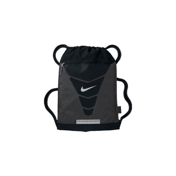 Nike Vapor Gymsack Drawstring Bag (Anthracite) (27 CAD) ❤ liked on Polyvore featuring bags, handbags, silver metallic purse, drawstring handbags, nike bags, lightweight bags and draw string bag