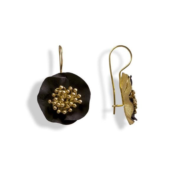 Handmade Gold Plated Silver Black Flower Earrings - Anthos Crafts - 1