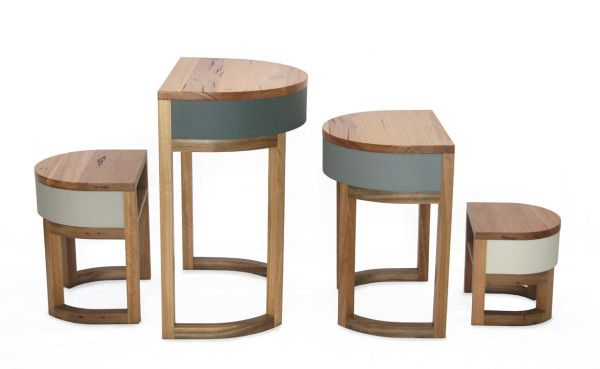 Tables Four Two are a set of four nested components that were designed as either tables or stools with its own storage component