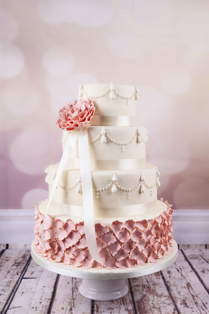 Blush wedding cake  Grace Couture Cakes