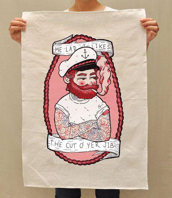 Cotton Linen tea towel with Sailor Man print by by NowhereCreek, $24.00