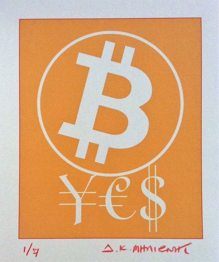 """""""BIT COIN ¥€$""""  Signed 1/7 Limited Edition Giclee Pigment Print 2017 Cryptoart f #PopArt"""