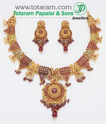 Totaram Jewelers: Buy 22 karat Gold jewelry & Diamond jewellery from India: Antique Necklace Sets