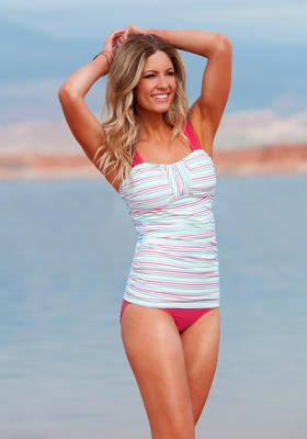 Coral stripe retro-inspired Bandeau Tankini from Divinita Sole Swimwear. #DiviineModestee