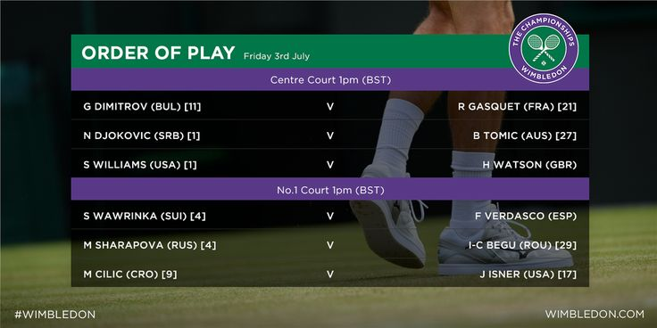 Another thrilling day of tennis awaits on Day 5. See the full Order of Play here http://www.wimbledon.com/en_GB/scores/schedule/index.html Wimbledon 2015