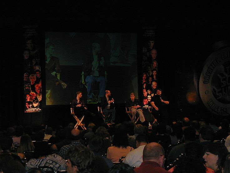 "Guillermo del Toro (right, with mic) and the cast of ""Hellboy"""