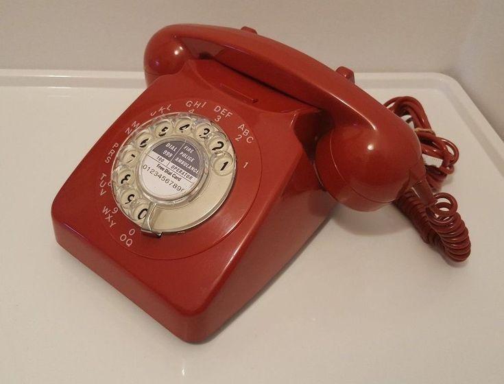 Original Vintage Retro 1970's GPO 746 Rotary Dial Red Telephone Restored