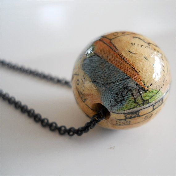 Pendant necklace of paper mache globe with by for How to make paper mache jewelry