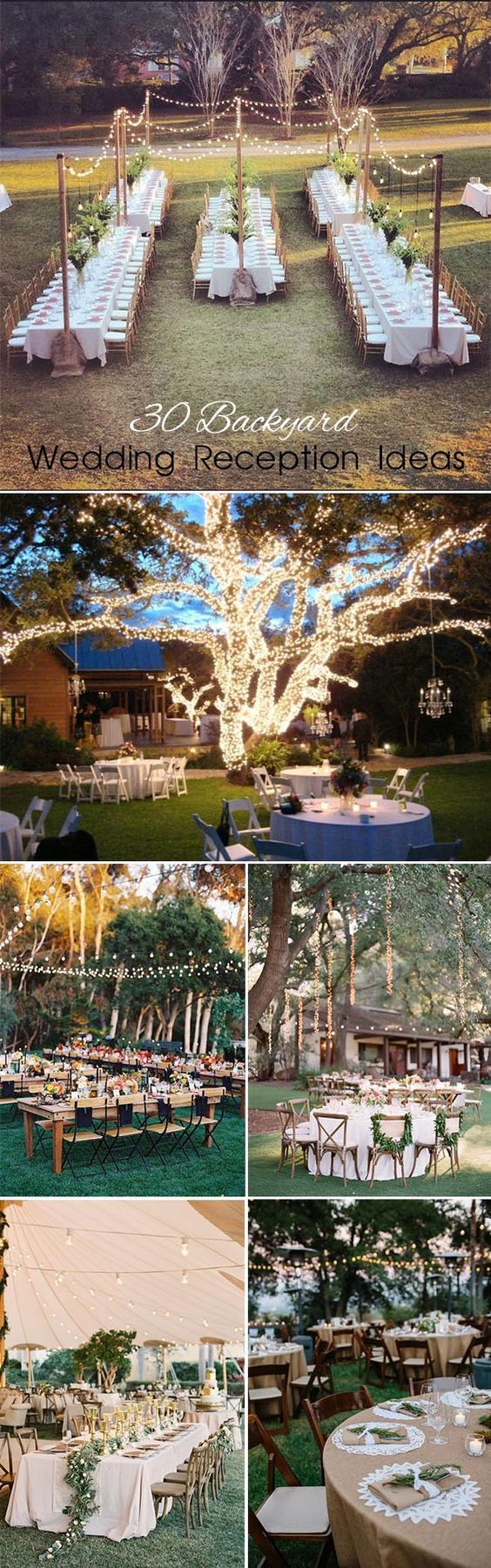 Backyard weddings are getting more and more popular because they are informal, simple,cozy, relaxing, and won't require a big budget .The best part of having backyard wedding is that you can personalize it without any restrictions,cover the trees with lights and garlands or hang your family photos on them. SO, ready to start backyard wedding planning? Click to see 30 of our favorite backyard wedding ideas…