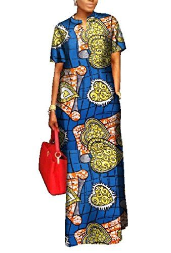 a21883196e6f3b Yobecho Womens African Print Dashiki Dress Long Fit and Flare Crop Top  Skirt Outfits Maxi Dress with Pockets in 2018
