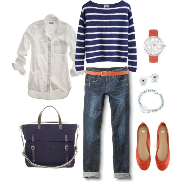 Nautical Navy and Orange--take off to the beach in this great outfit and keep it out for transitional outfits for Fall.#Repin By:Pinterest++ for iPad#
