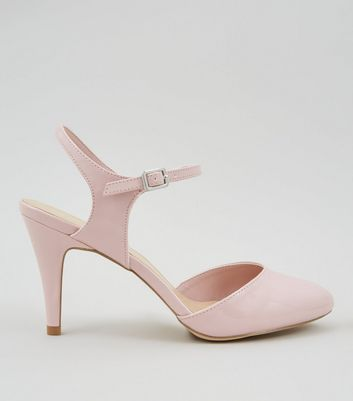 Wide Fit Pink Patent Ankle Strap Court Shoes