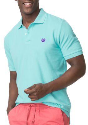 Chaps Vacation Blue Big  Tall Pique Polo Shirt