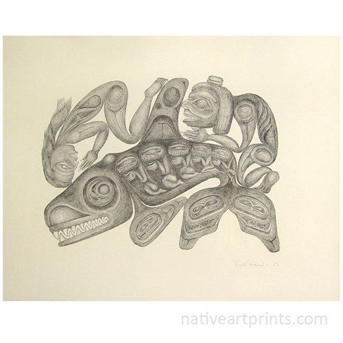 Rare 1983 Haida Artist Bill Reid Lithograph Nanasimgit Legend 152/200 Comes With Authenticity Document