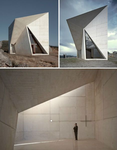 Chapel in Valleaceron, Spain- empty space inside allowing reflection and thinking space