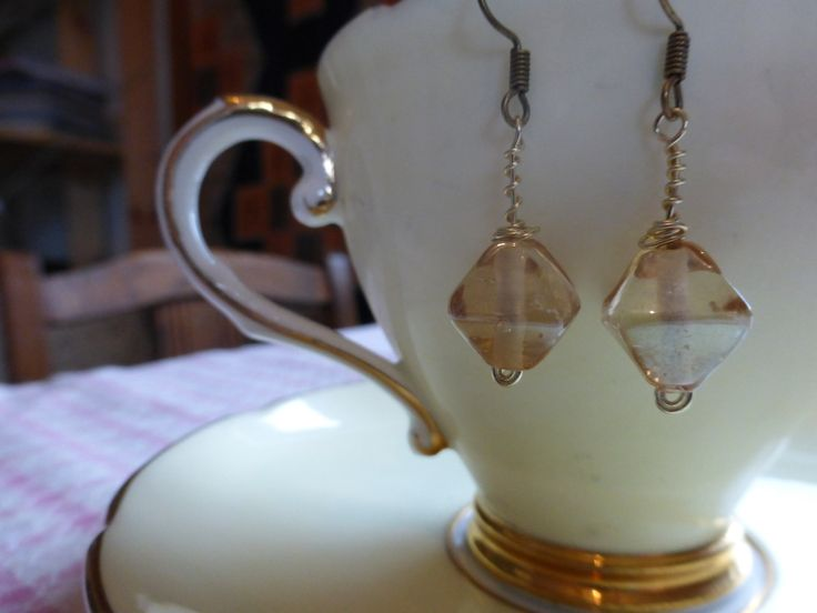 Earrings: vintage style drop earings with champagne glass beads by TheCatAndTheClasp on Etsy