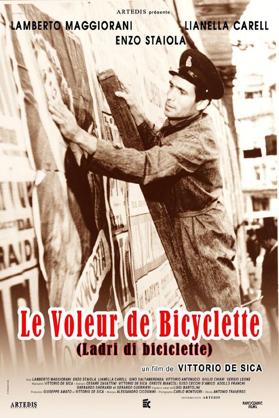 Le Voleur de bicyclette est un film de Vittorio De Sica avec Lamberto Maggiorani, Enzo Staiola. Synopsis : Chômeur depuis deux ans, Antonio trouve un emploi de colleur d'affiches, mais il se fait voler sa bicyclette, outil indispensable dans le cadre de son