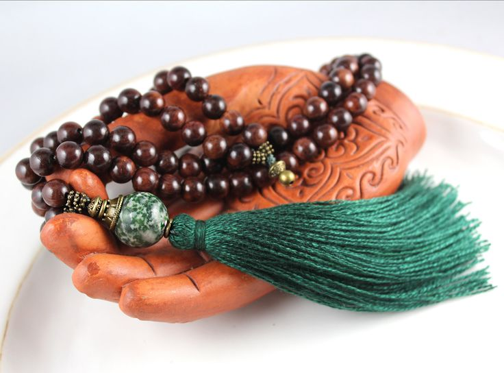Rosewood Mala Beads Tree Agate Mala Gemstone Mala Tassel