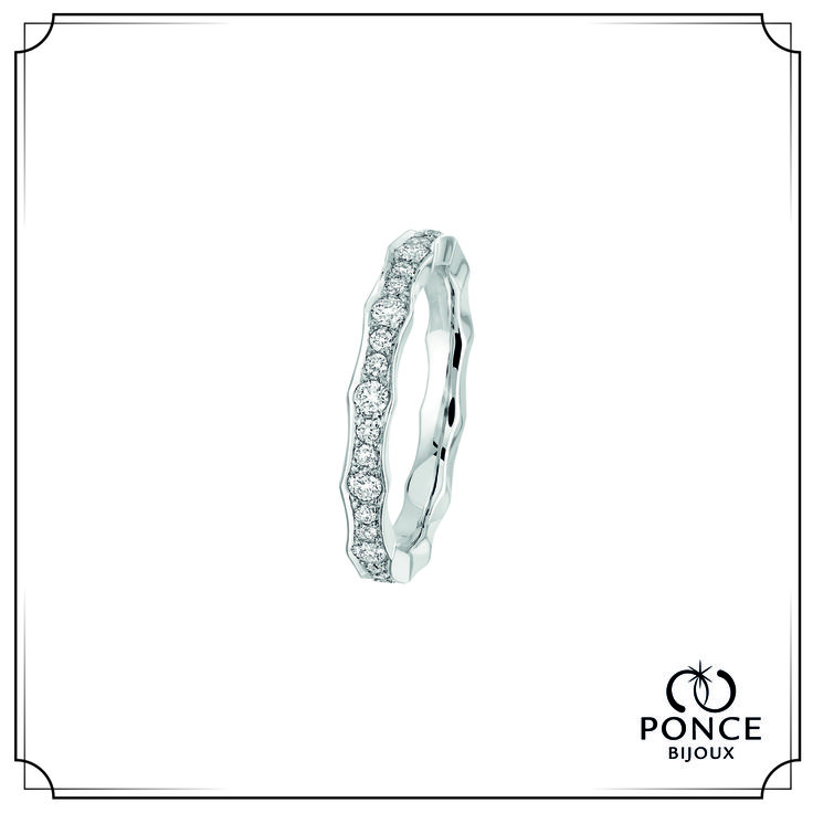 Bijoux Ponce MORGANE Grand modèle, Alliance diamant, alliance femme, alliance Platine, pavage diamants 0,66 ct H-SI (24x0,01 ct + 12x0,035 ct) #BijouxPonce #Paris #MadeInFrance #Love #mariage #alliance #platine