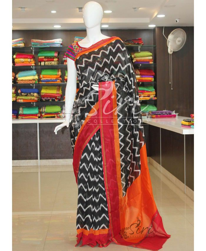 Ikat Design Printed Black Pure Chanderi Cotton Silk Saree With Blouse