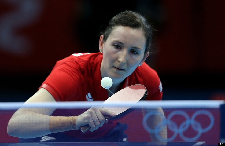 Great Britain's Joanna Parker hits a shot during a first round table tennis match against Brazil's Caroline Kumahara at the 2012 Summer Olympics, Saturday, July 28, 2012, in London.