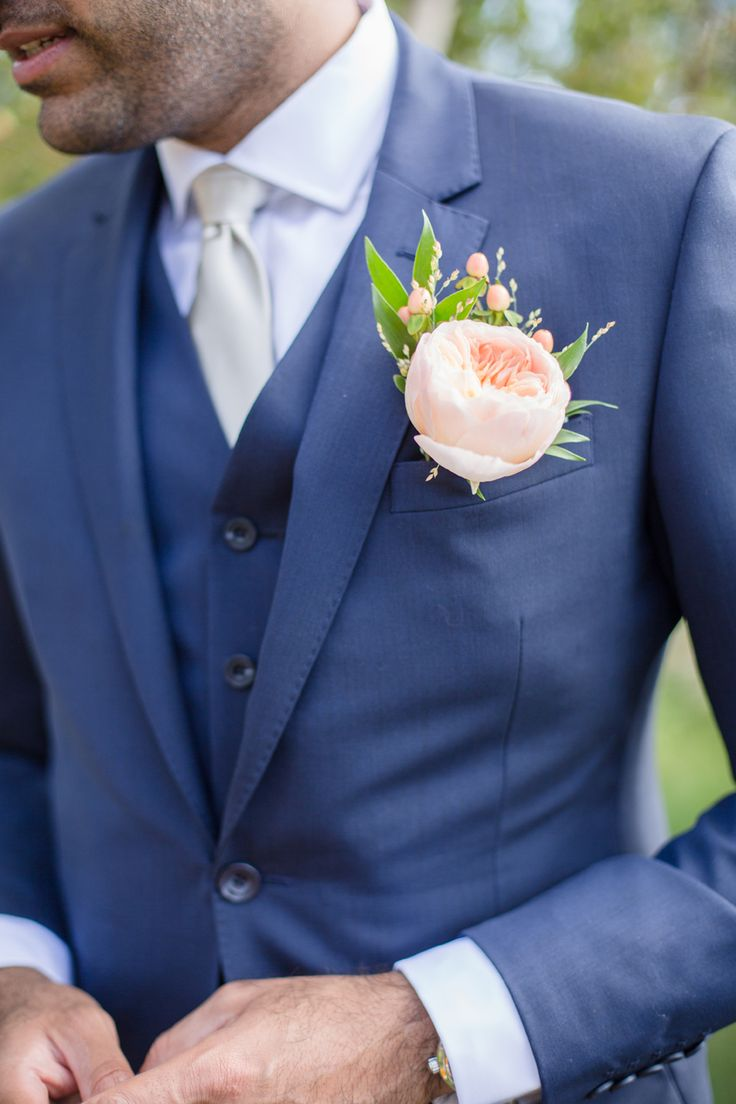 Rose Button Hole With Navy Suit - Swedish Archipelago Wedding With A Pink Colour Scheme And Flower Girls In White Monsoon Dresses With Images From Cecelina Tornberg