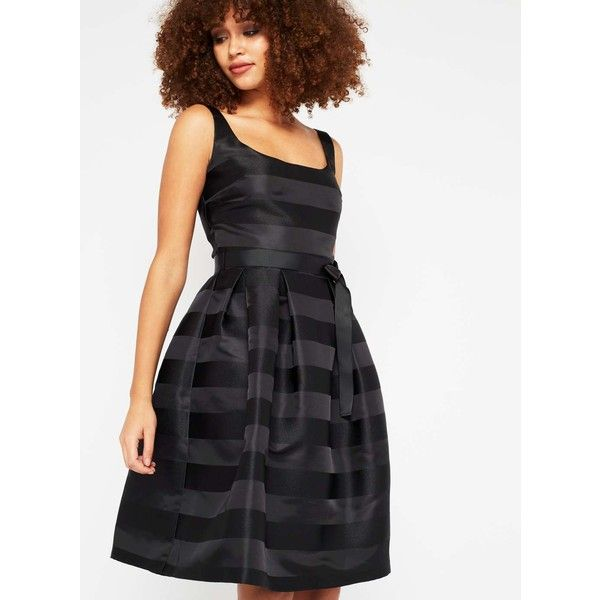 Black Stripe Prom Dress This must have party dress is the perfect dress for a special occasion.  Style with high heels and clutch bag to finish the look.  Fitt…