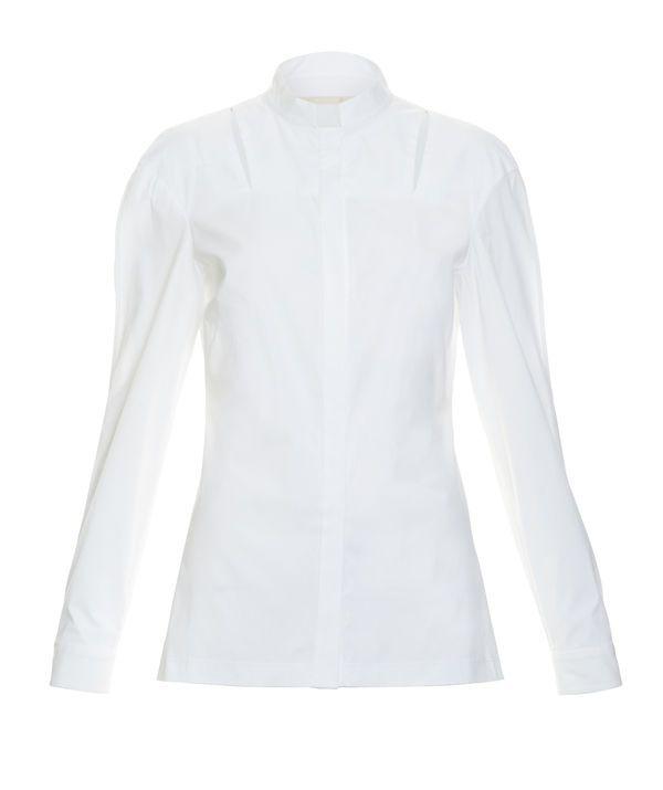 Cut Out Cotton Shirt, WHITE