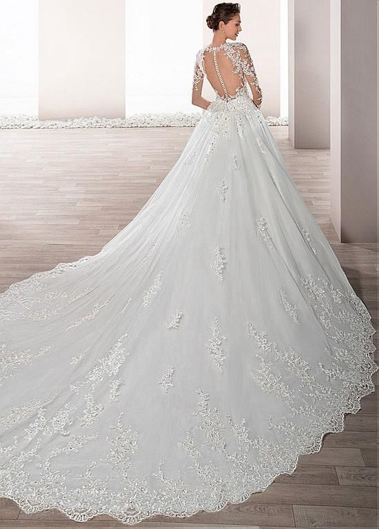d8759f6226a90 Buy discount Junoesque Tulle Sheer Jewel Neckline A-Line Wedding Dress With  Beaded Lace Appliques