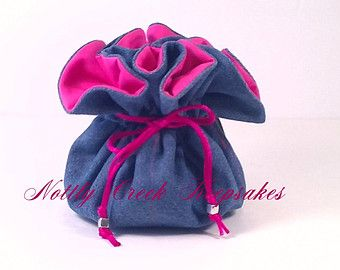Denim Jewelry Bag / Travel Jewelry Organizer / Cosmetic Bag / You Choose the Inside Lining Color