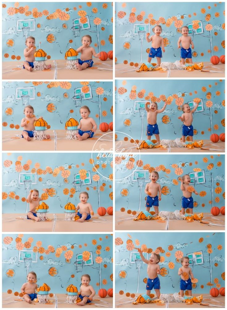 Twin Basketball Cakesmash!  #basketballcake #happybirthday #twinsbirthday #slamdunk