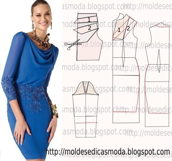 Passo a passo do molde de vestido drapeado. O objectivo é facilitar a construção do molde transformando a base no modelo da figura.