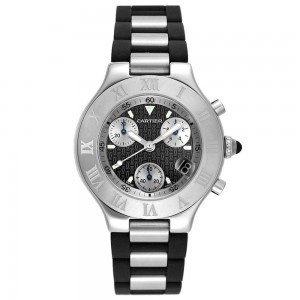 Cartier Men's Chronograph Watch: Cartier Men'S, Black Rubber, Men W10125U2, Rubber Chronograph, Chronoscaph Stainless, Men'S W10125U2, 21 Chronoscaph, Chronograph Watches, Stainless Steel