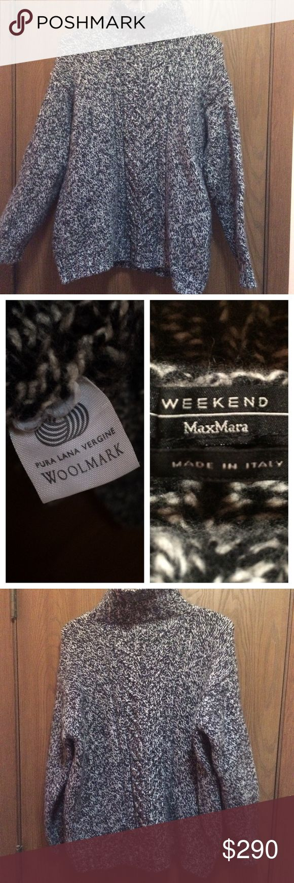 """Authentic MAX MARA virgin wool sweater Size XL, but fits like a large or a 10 so listed as large. Virgin wool. Made in italy. Excellent used condition. Steam treated. So warm and soft. On sale for the summer so buy before fall/winter! Similar items go for $1000. Sak's fifth avenue """"weekend"""" line. Please ask questions before buying!! MaxMara Sweaters Cowl & Turtlenecks"""